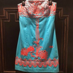 Lilly Pulitzer Turquoise & Coral embroidered dress
